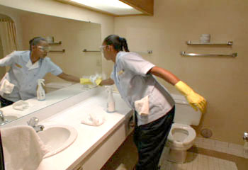 Demeter clarc manners moment tip the maid demeter clarc for Housekeeping bathroom cleaning procedure