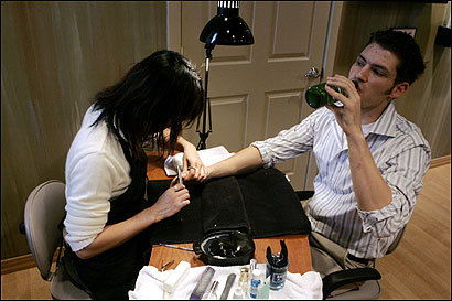 Is a man getting a manicure gay