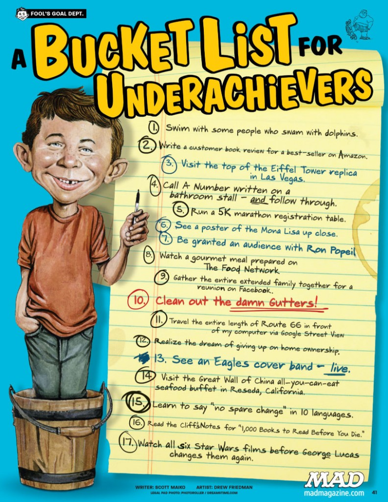 BUCKET LIST FOR UNDERACHIEVERS