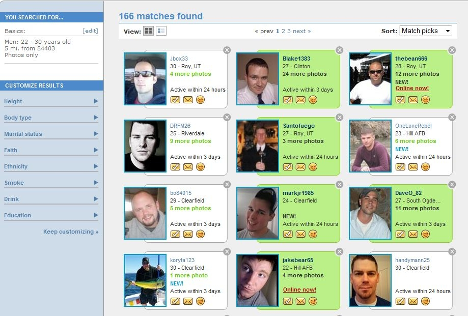 eharmony search for matches
