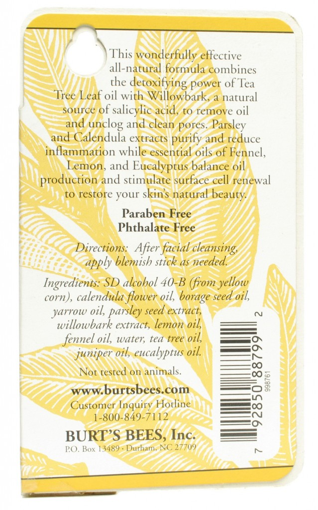 INGREDIENTS BURTS BEES BLEMISH STICK