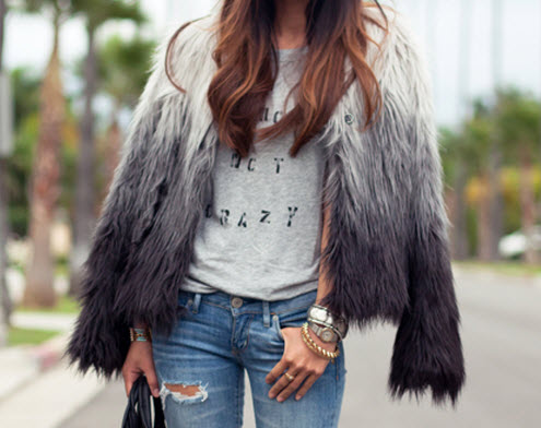 FAUX FUR OMBRE SHOULDER