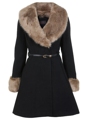 MISS SELFRIDGE FAUX FUR BLACK TAN