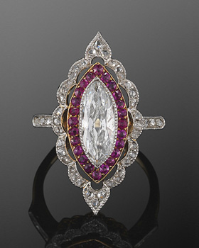 FRED LEIGTON 1915 EDWARDIAN RUBY DIAMOND